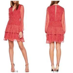 Bardot ditsy shirred red dress
